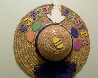 Happy Easter Decorative Straw Hat