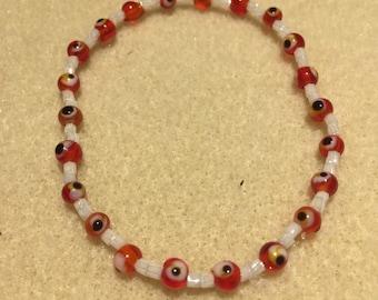 Red evil eye double crystal bracelet