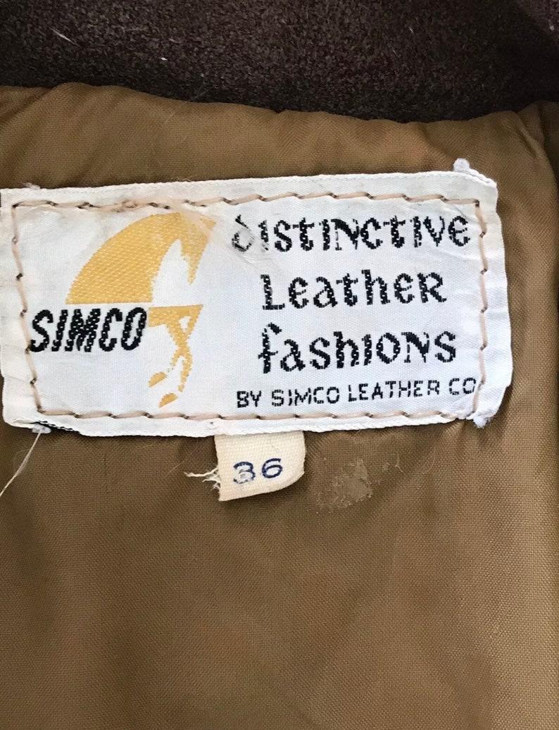 Vintage Simco Dark Brown Leather Jacket W Fringe Sz 36 Hippie Boho Coat Suede