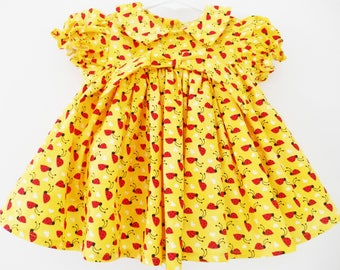 3/6Months Baby girl cloth,Infant, set, gift, Yellow Lady bug, flared dress with panty.