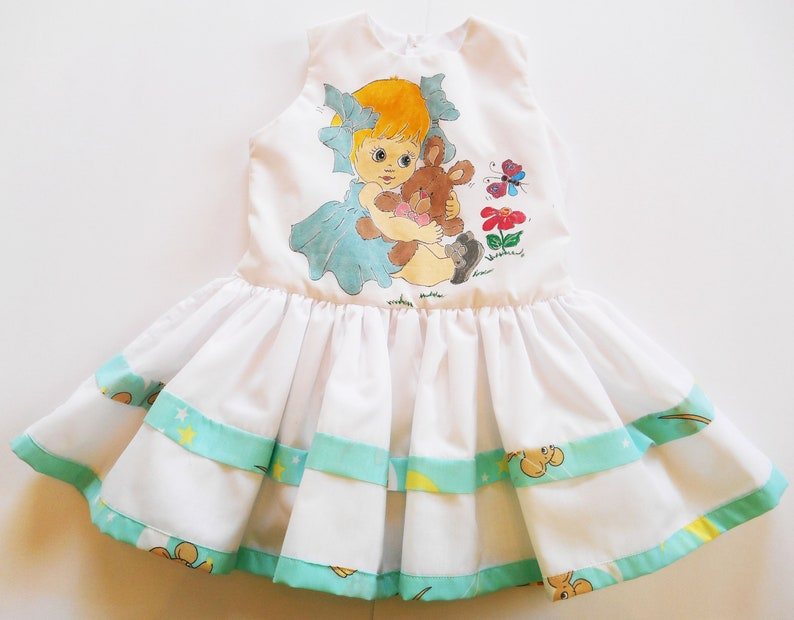White dress 1824 Months Hand painted  Princess Clothing Birthday Baby shower Toddler Summer Spring Unique gift dress