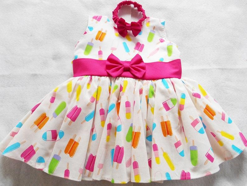 76be6de4d0a Summer baby dress. 6 9 MonthsPopsiclesWhitePink bow