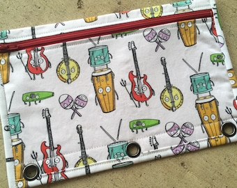 Happy musical instruments 3-ring binder pencil case