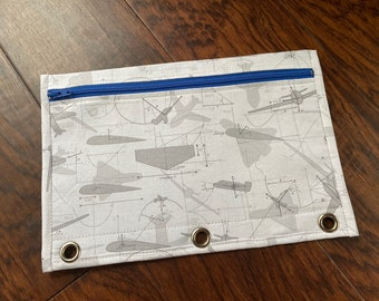 BACK TO SCHOOL Pencil case with grommets : airplane print with blue zip and lining