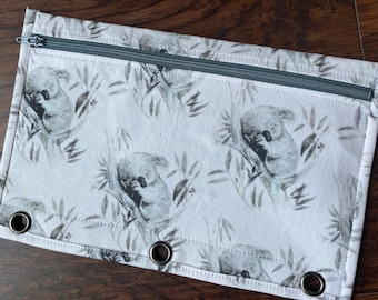 Baby KOALAS pencil case for three ring binder with grey zip and lining
