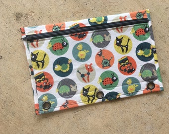 Robotic animals pencil case for three ring binder - black zipper and lining