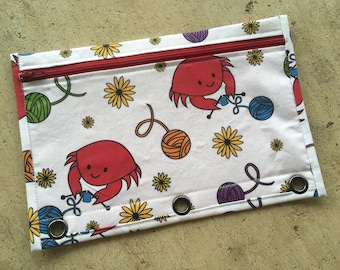 Happy crabby knitters pencil case for three ring binder