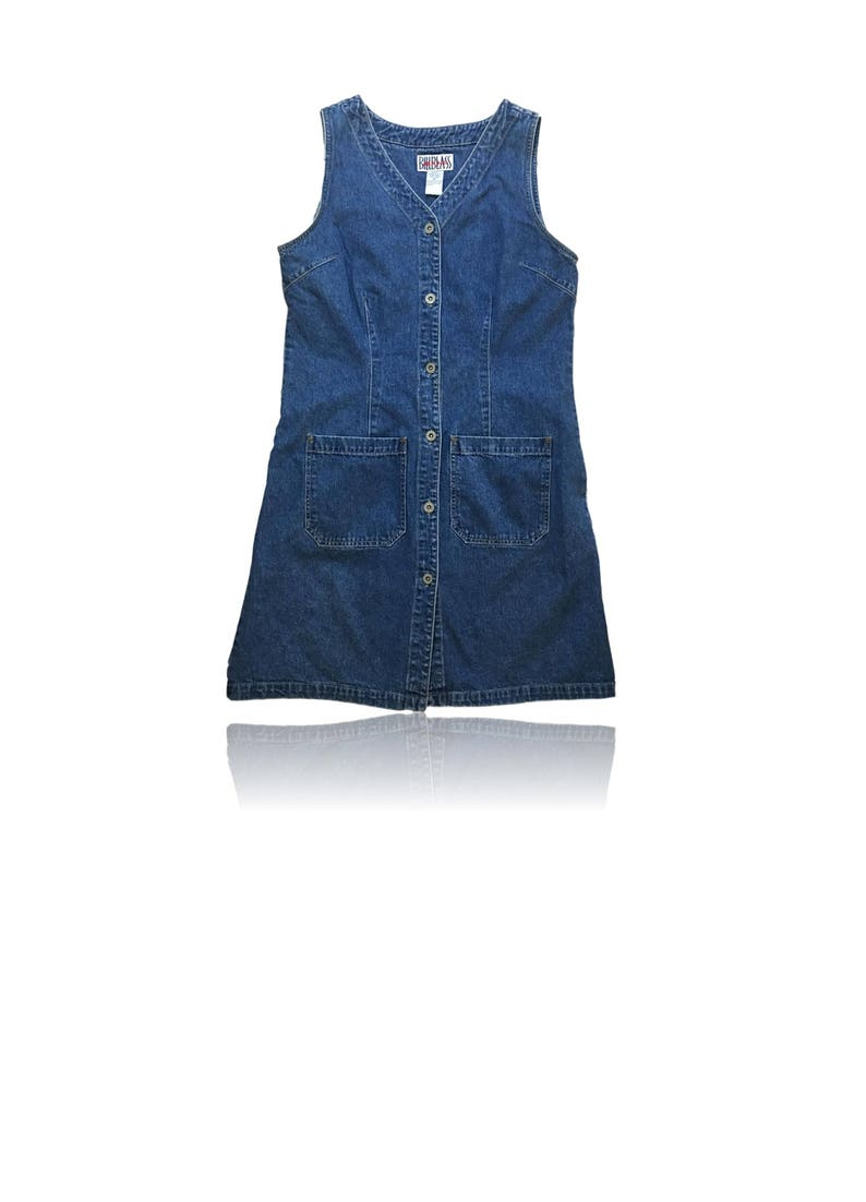 be4509a7f0a25 90s Sleeveless Button Down Denim Mini Dress // Size Medium //   Etsy