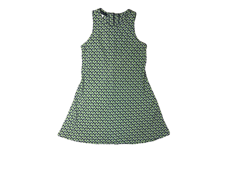 700f4dc6c7c 90s Geometric Lime White Daisy Mini Dress A-Line Dress    Size