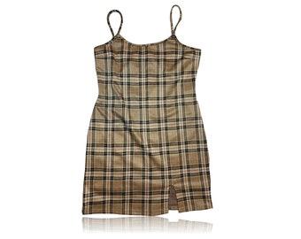 90s Grunge Plaid Mini Dress Y2K // Front Leg Slit // Size Large // Justify