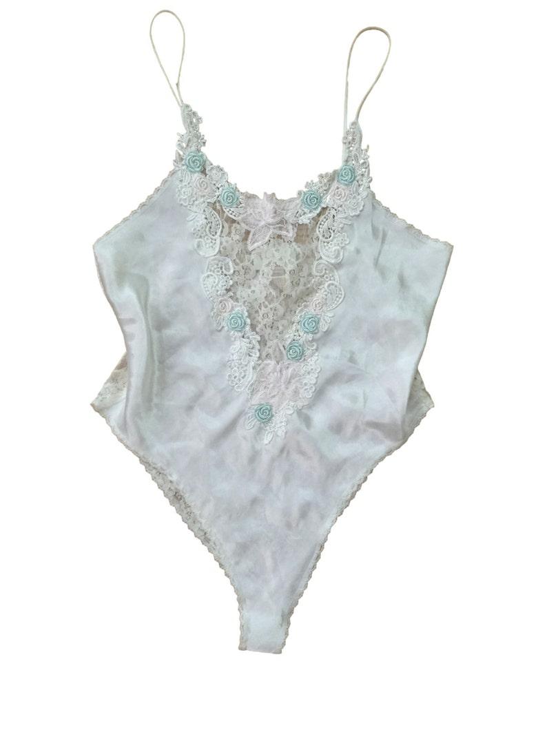 b5dd97be6 90s Victoria s Secret    Satin Ivory Teddy    Full Lace
