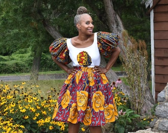 LiLiGirl Puff Sleeve T-shirt / Puff Sleeve Scoop Neck Shirt / African Print Puffy Sleeve Top / African Outfits for Women / One of a Kind top