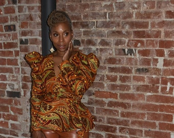 African Print Wrap Top,  Gold Brown And Green African Print Top, Puff Sleeve Wrap Top, Plus Size Top, African Clothing for Women