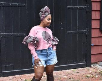 Crop Sweatshirts  LiLi Ruffle Crop Sweatshirt   Ruffle Sleeve Crew Neck Sweatshirt   Pink Brown and Grey Ruffle Sweatshirt