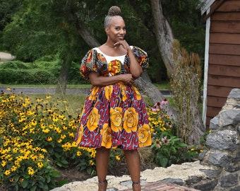 LiLiGirl Belle Skirt / Hight Waist Floral African Print Skirt / Gold Floral Cotton High Waist Skirt / African Outfits for Women
