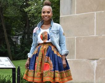 African Outfits for Women, High Waist Dashiki Skirt, Kijani Belle Skirt Only