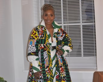 Harusi Kimono   Multi Color Full Length African Print Duster    3/4 sleeve Green Yellow and Black Mix Print Robe   African Outfits for Women