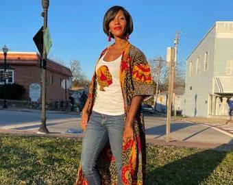 Floor Length Red Gold Circle Print Kimono ONLY | Harusi Kimono | Floral Full-Length Kimono | African Outfits for Women |