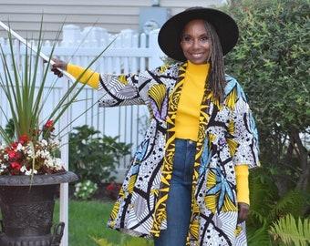 Short Sleeve Above Knee Kimono,  Harusi Mini African Print Kimono, Plus Size Kimono, Short Cotton Kimono, White, Yellow And Aqua Kimono