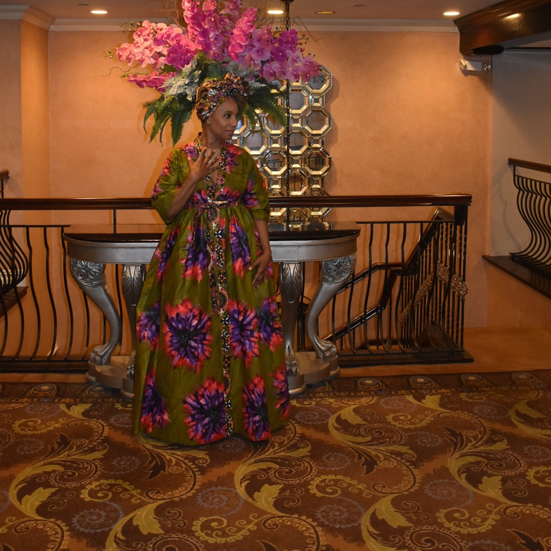 Pink Floral Kimono LiLi Head Wrap  Coordinates with Olive Green Purple