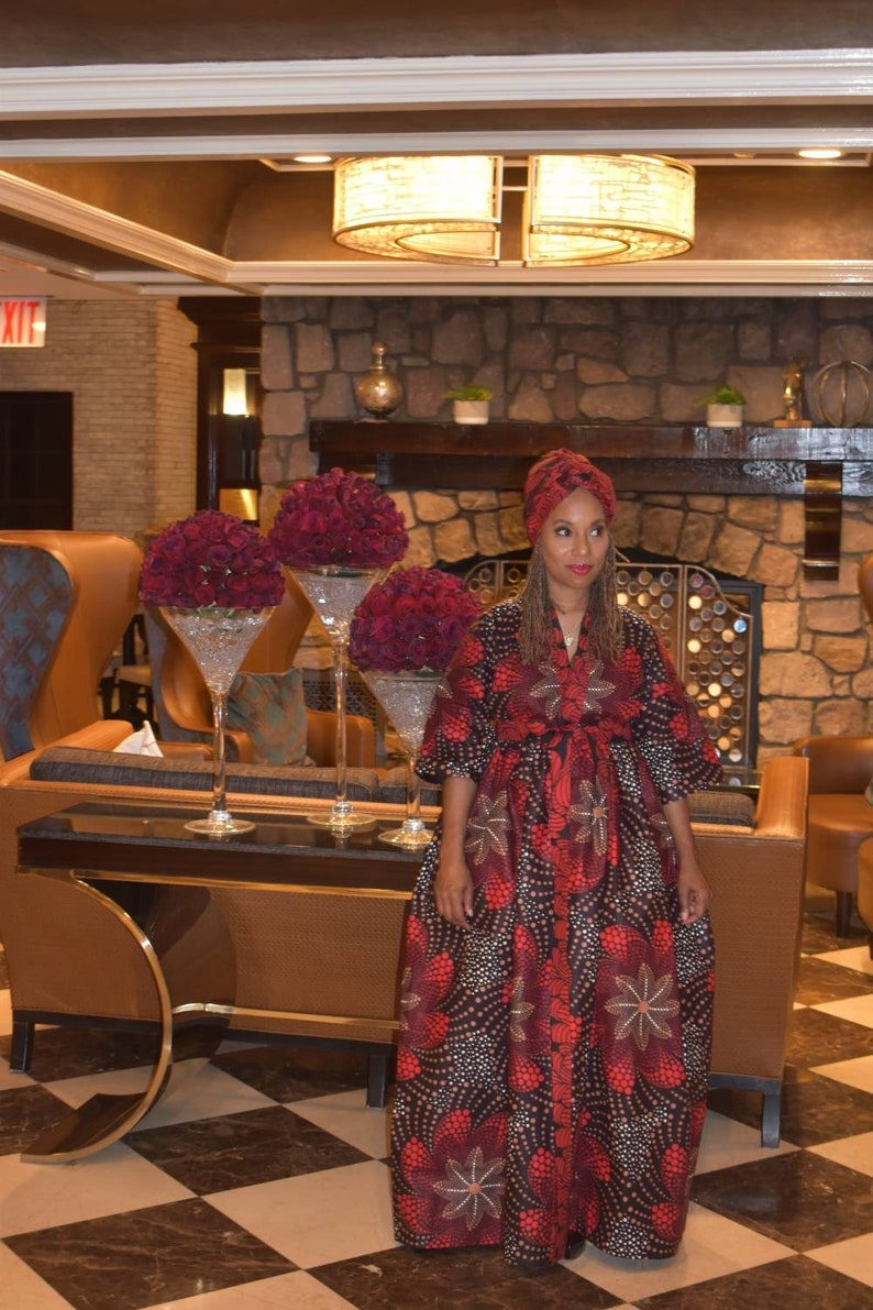 LiLi Head Wrap coordinates with the Brown Red Floral Harusi Kimono