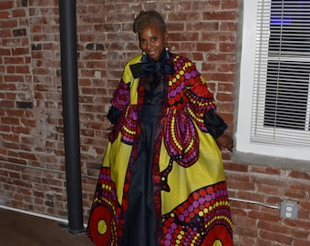 Harusi Kimono   Neon Yellow Navy Purple and Red African Print Kimono   Full Length   One of a Kind Cotton Robe   African Outfits for Women