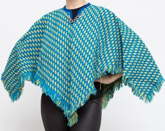Vintage Wool Blue Cape, Small Cape, Vintage Poncho with Chain