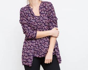 90s Vintage Floral Blouse and Vest Suit / Purple Blouse and Vest