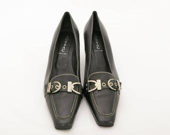 Black Leather Shoes, Black Retro Pumps, Black Heeled Shoes, Elegant Office Shoes, Black High Heels, Size 39 SHoes, Italian Leather Heels