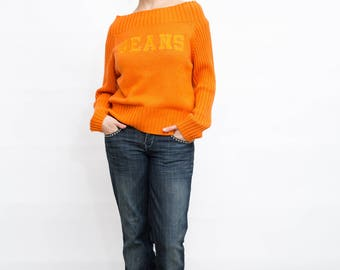 Vintage Orange Pullover, Small Size Sweater, Off Shoulder Pullover, Long Sleeves Sweater