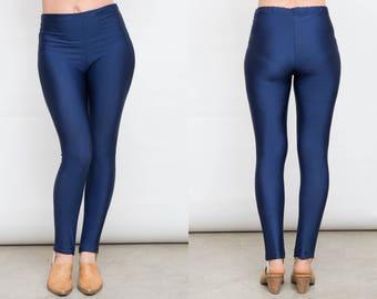 b00030e5b42186 Blue Stirrup Pants, Navy Vintage Slacks, 70s Dark Blue Pants, Vintage  Leggings, Blue Lycra Pants, Medium Size Pants