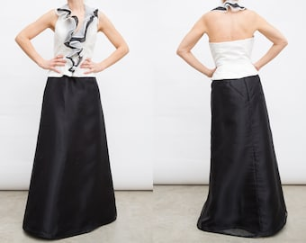 0964f3e72 Vintage Evening Long Skirt and Blouse Suit   Evening Gown with Ruffles    Black and White Evening Dress   Halter Top Evening
