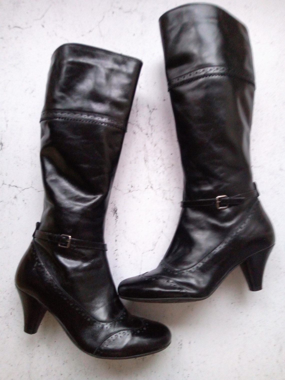 Vintage Botas Negras Altas, Zapatos de punta de ala negra, Botas redondas, EUR 37, UK 4, US 6,5