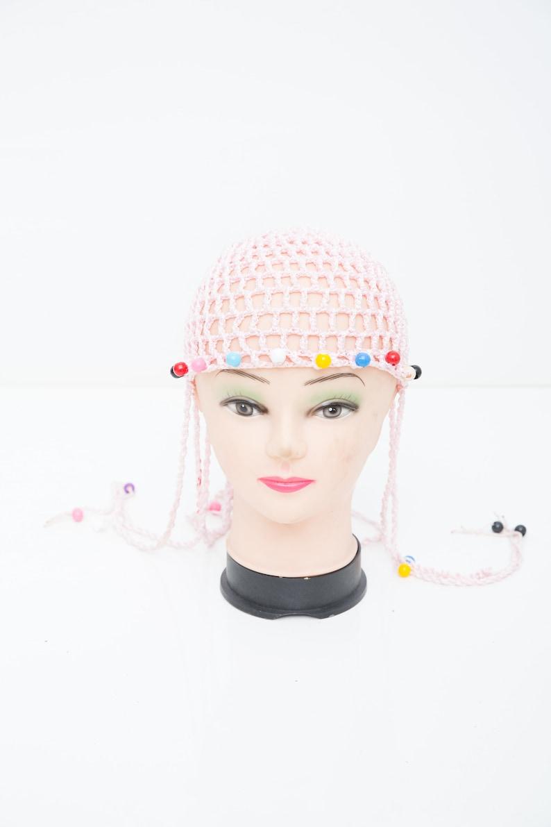 Pink Teen Hat Vintage Crochet Hat 80s Stocking Cap Retro Lace Cap Beaded Summer Hat Crochet Cap Pink Scull Beanie Kids Beanie Hat