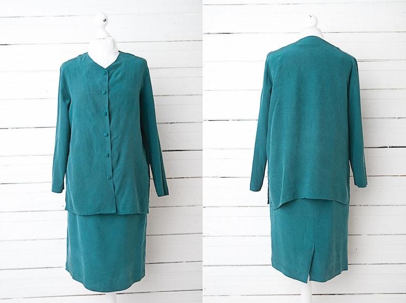 Vintage Skirt Suit  Moss Green Silk Office Skirt Suit  Size 38 Medium  Summer Midi Skirt  Long Sleeve Suit  Ladies Two Piece Suit