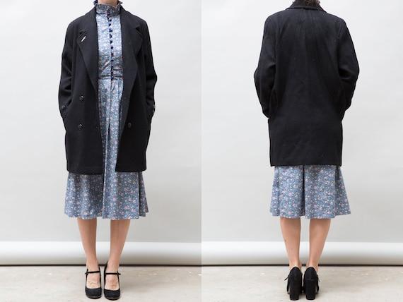 90's Vintage Wool Black Coat / Women Double Breast