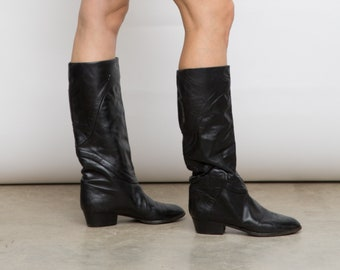 70s Vintage Riding Mima Boots, EU 37.5 / US 7 / UK 4.5 Tall Black Shoes, Flat Boots, Genuine Leather Shoes,