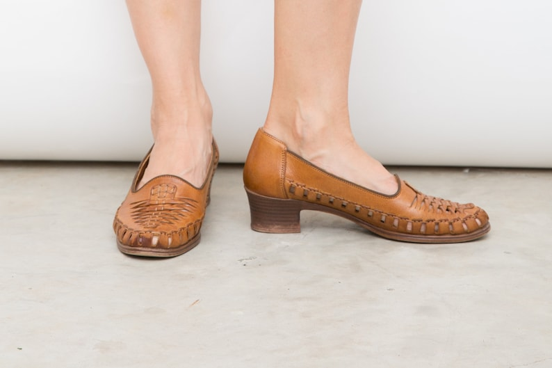 320c02648c5e5 90s Vintage Brown Rieker Shoes, EU 37.5 / UK 4.5 / US 7, Camel Brown  Leather Small Heels, Woven Leather Summer Shoes