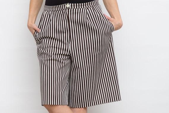 7f813aa35fad Vintage Striped Culottes Wide Retro Shorts High Waist