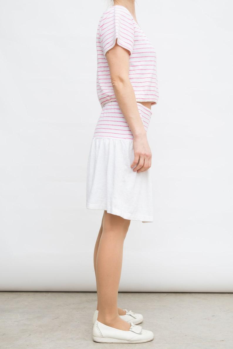 80s Skirt Suit Large Size Suit Vintage White Skirt Suit Short Sleeve Top Suit Towel Cloth Suit Blouse and Midi Skirt Suit