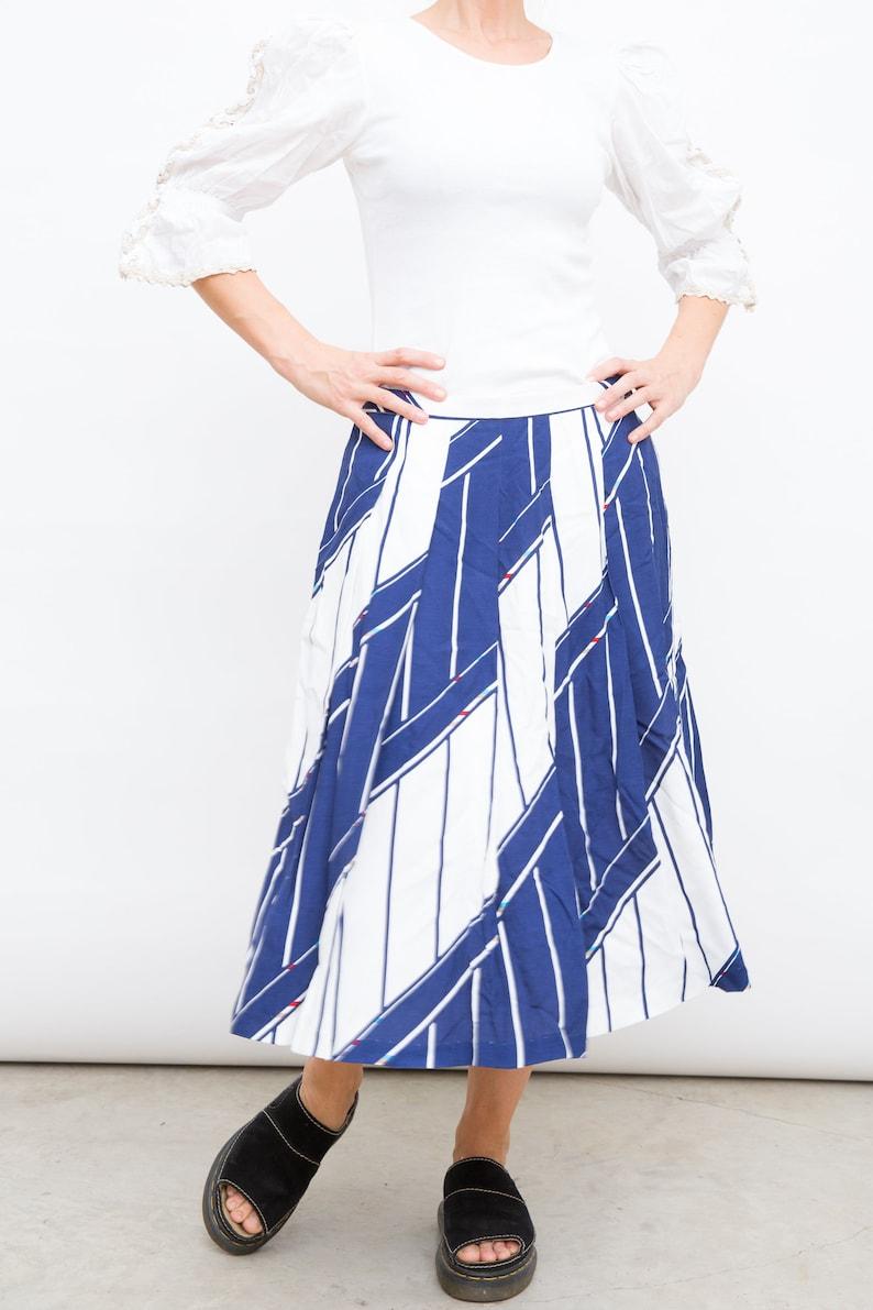 White Blue Skirt Vintage Marine Skirt Long Skirt Tonssaint Skirt 80s Pleat Skirt Large Size Skirt