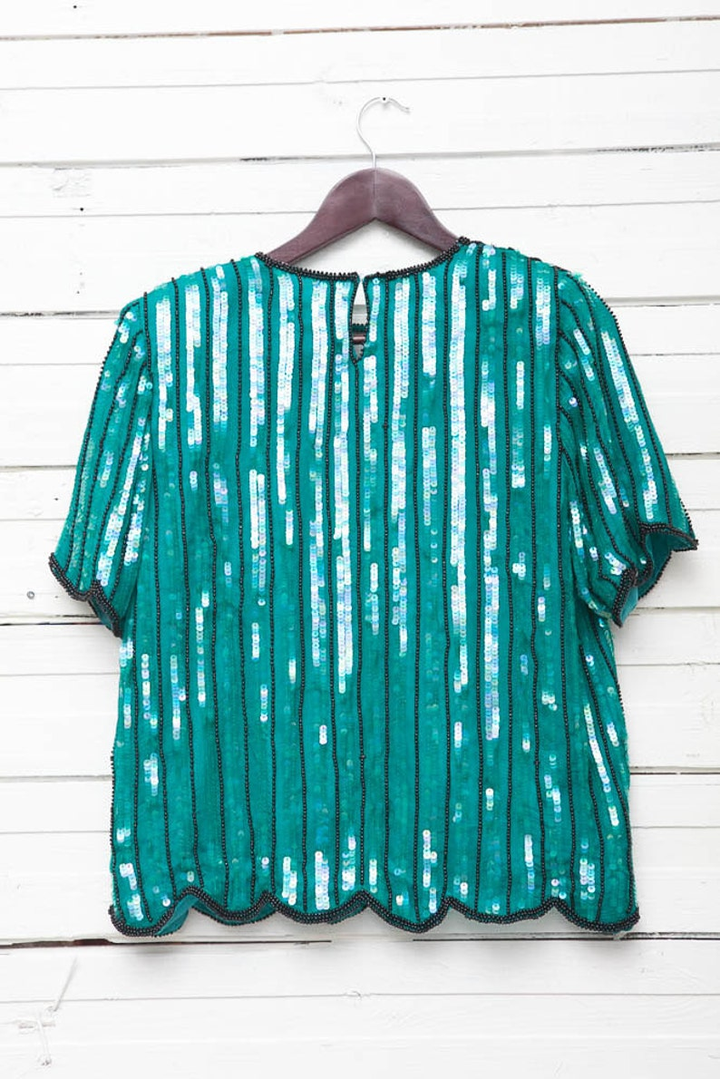 Vintage Floral Striped Sequin Disco Glitter Short Sleeve Embroidered Women/'s Blouse  Ladies Retro Summer Evening Shirt Top  Size M