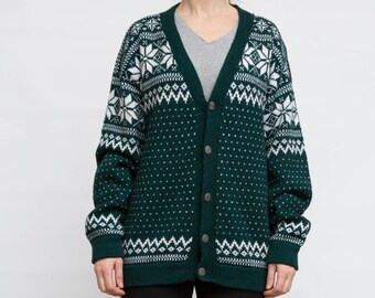 Vintage Wool Cardigan, Green Oversized Sweater, 90's Nordic Sweater, Size XL, Extra Large Knit Cardi, Chunky Knits