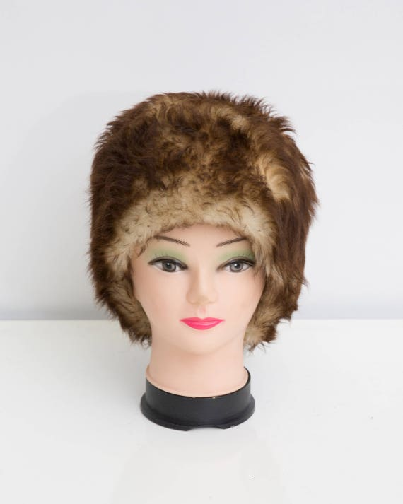 Vintage Fur Hat Brown Pillbox Hat Genuine Fur Hat Warm  09d2b2363ae