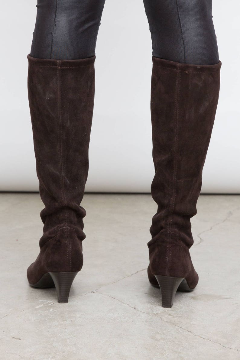 e77ccbbe54a06 Vintage 90s Brown Sock Boots, EU 36 , UK 3.5, US 5.5, Peter Kaiser Shoes,  Tall Brown High Heels, Pointy Toe Shoes