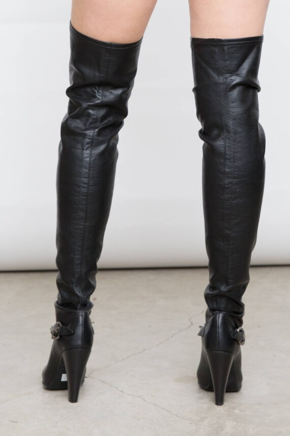 62ea5e63b948c 90s Vintage Over the Knee Black Stiletto Boots, EU 37 / UK 4 / US 6.5, Tall  High Heel Sock Black Shoes, Tall Pointy Toes with Chain