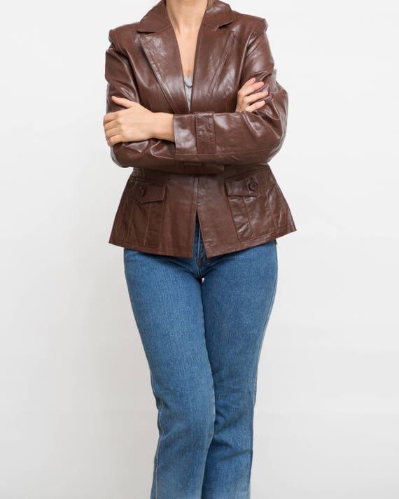 Vintage braun Jacke, 90er Jahre Lederjacke, mittlere Größe Jacke, Ledermantel, Button Daunenjacke