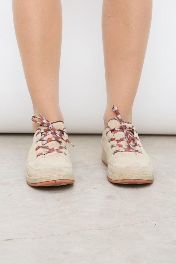 Vintage Beige Chaco Leather Lace Ups EU 39, UK 6, US 8 Beige Hiking Suede Boots, Woman Lace Up Shoes