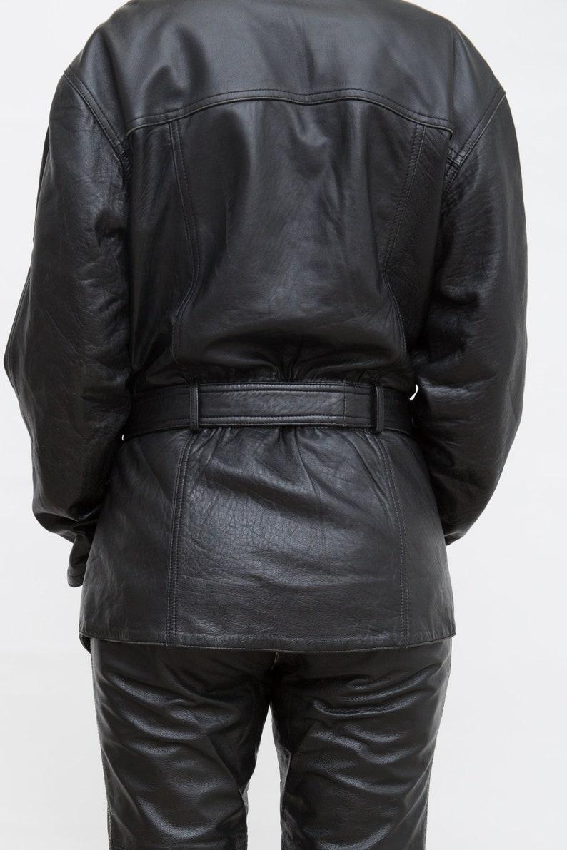 Belted Leather Jacket Large Size Jacket Unisex Coat Grunge Leather Jacket Vintage 80s Black Leather Coat