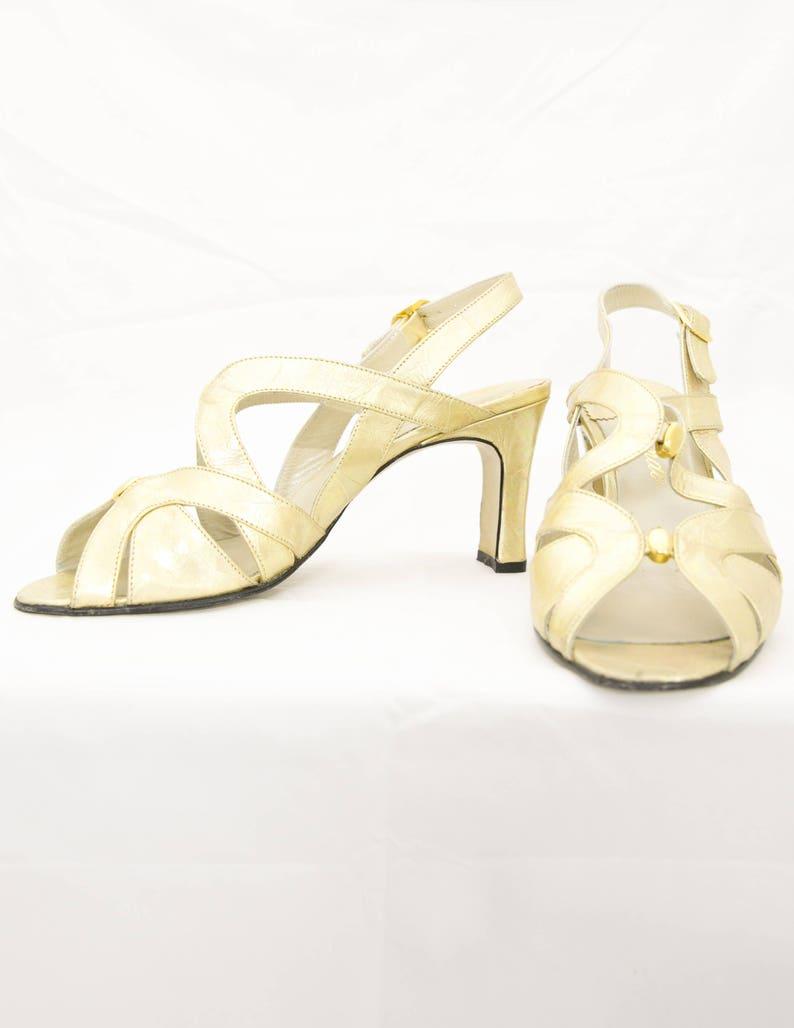 40c62c5f7e6 Gold Slingback Heels Leather Gold Shoes 37.5 EU   7 US   5